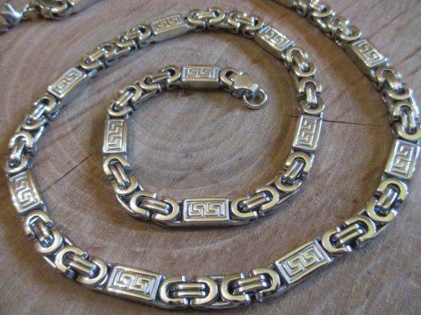 Nemesacél bizánci  ezüst színű nyaklánc