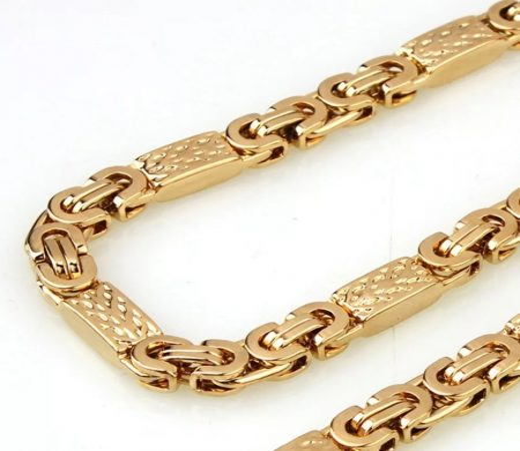 Nemesacél bizánci mintás nyaklánc arany színben