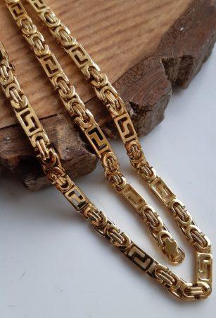 Nemesacél görög mintás nyaklánc és karkötő szett arany színben