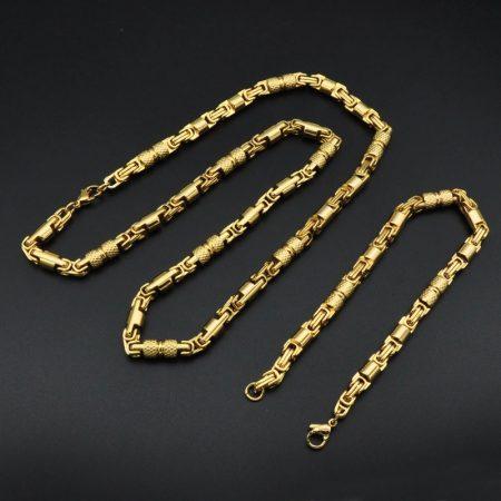 Nemesacél arany színű férfi nyaklánc és karkötő szett