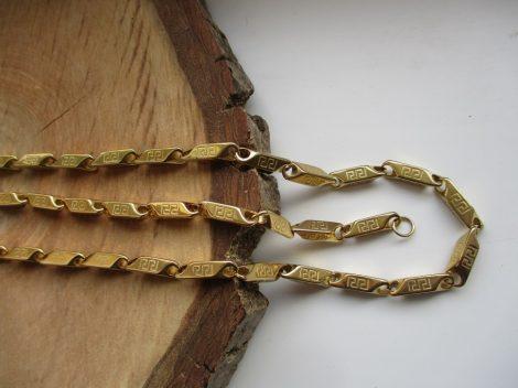 Nemesacél nyaklánc és karkötő szett görög mintával arany színben