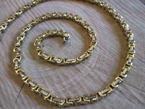 Nemesacél bizánci mintájú arany-ezüst színű nyaklánc