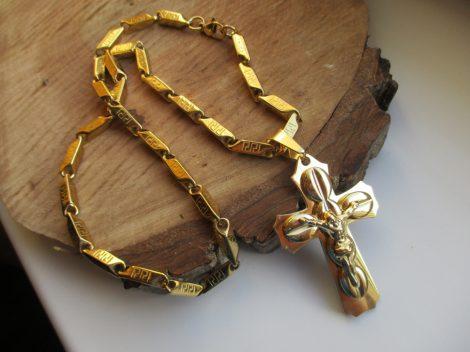 Nemesacél arany színű nyaklánc és barakka kereszt medál