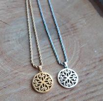 Nemesacél csavart nyaklánc és virágmintás medál arany vagy ezüst színben