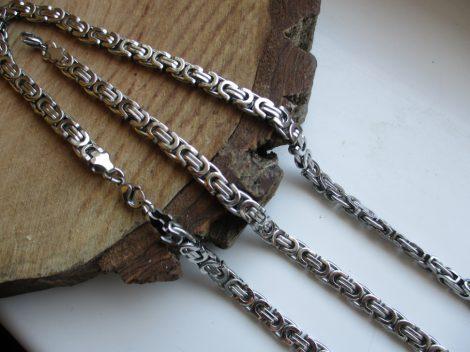 Nemesacél férfi nyaklánc és karkötő szett ezüst színben lánc mintával