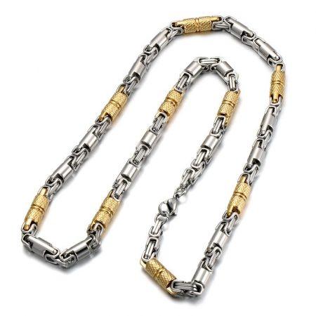 Nemesacél arany-ezüst színű férfi nyaklánc