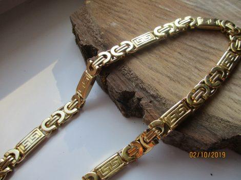 Görög mintás férfi arany színű nemesacél nyaklánc
