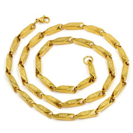 Nemesacél görög mintás nyaklánc arany vagy ezüst színben