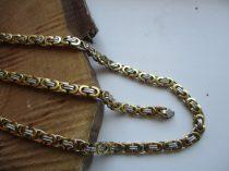 Arany-ezüst színű nemesacél bizánci mintás nyaklánc és karkötő szett