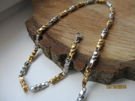 Nemesacél arany-ezüst színű csavart mintás nyaklánc