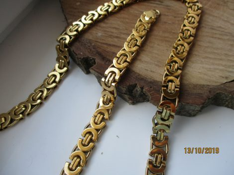 Férfi nemesacél arany színű nyaklánc és karkötő szett