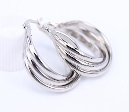 Vastag falú csavart mintás karikafülbevaló ezüst színben
