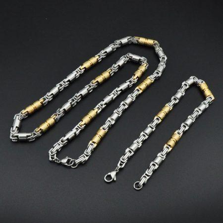 Arany-ezüst színű nemesacél férfi nyaklánc és karkötő szett