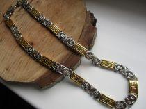 Arany-ezüst színű nemesacél görög mintás királylánc