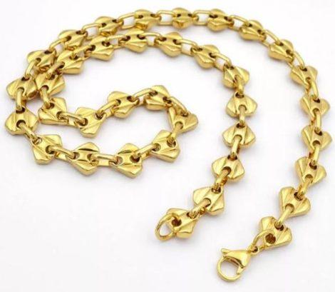 Nemesacél férfi arany színű barakka nyaklánc