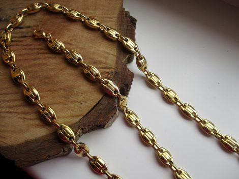 Nemesacél férfi barakka nyaklánc és karkötő szett arany színben