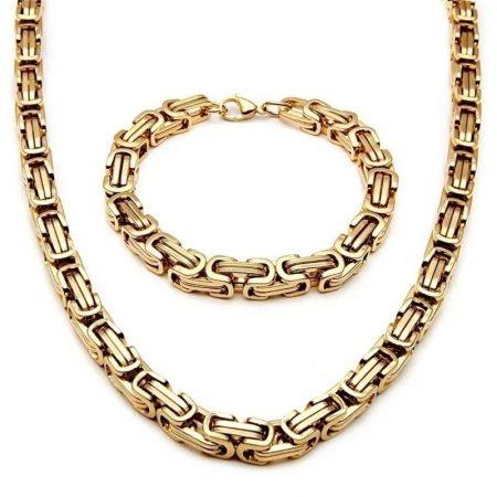 Nemesacél nyaklánc és karkötő szett arany színben lánc mintával