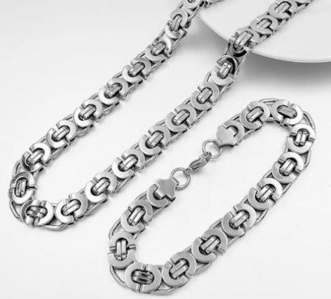 Lapos nemesacél ezüst színű férfi nyaklánc és karkötő szett