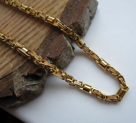 Nemesacél férfi arany színű nyaklánc láncmintával