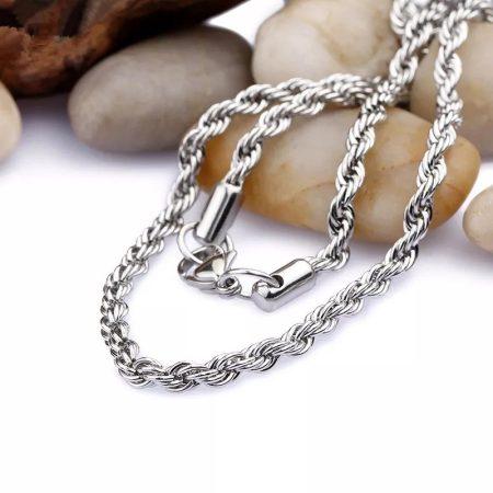 Nemesacél csavart mintás ezüst színű nyaklánc