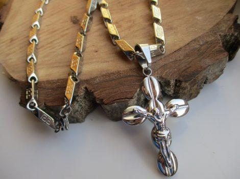Nemesacél görög mintás ezüst színű nyaklánc és barakka kereszt medál