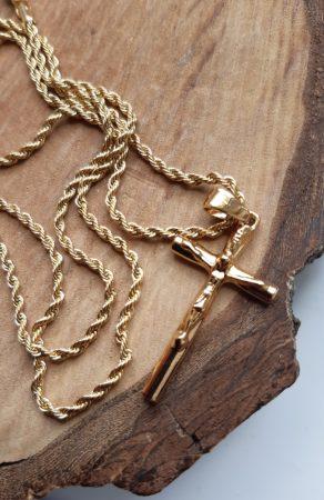 Nemesacél csavart nyaklánc és kereszt medál arany színben