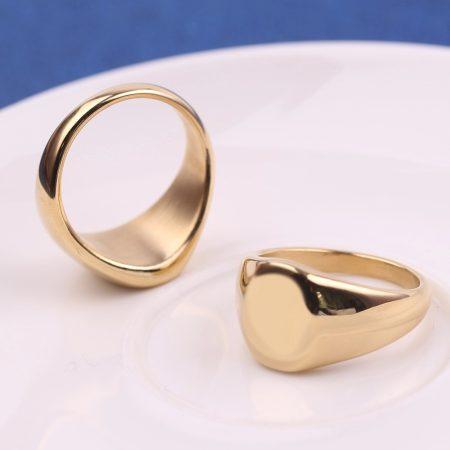 Nemesacél női pecsétgyűrű arany színben
