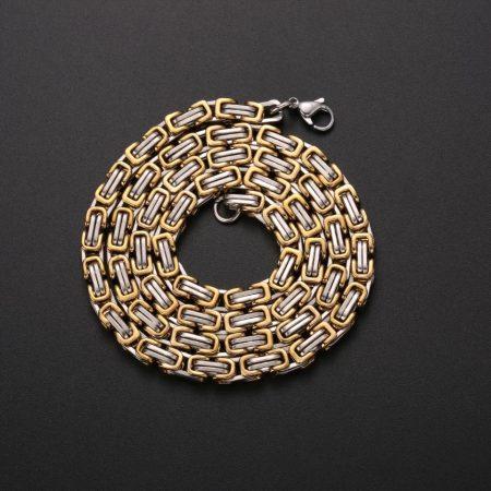 Nemesacél bizánci arany-ezüst színű nyaklánc