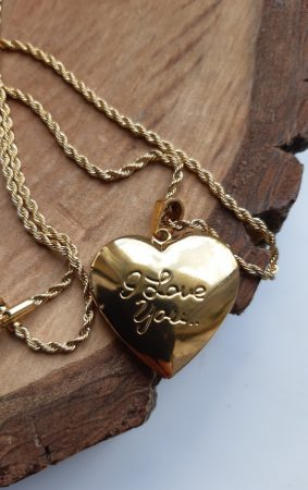 Nemesacél csavart nyaklánc kinyitható szív alakú medállal