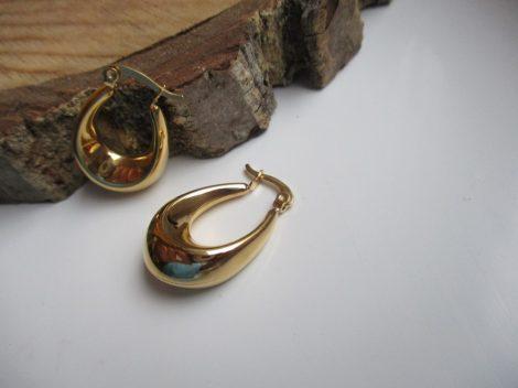 Kis méretű ovális nemesacél fülbevaló arany színben