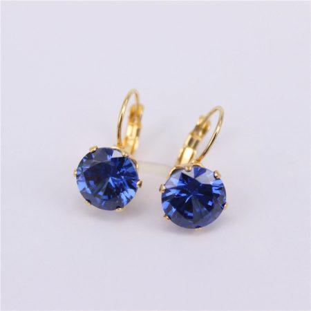 Nemesacél fülbevaló arany színben kék színű kővel