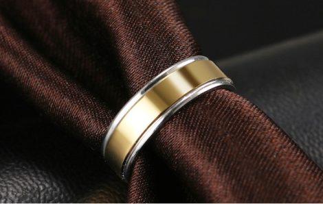 Nemesacél gyűrű arany-fehérarany színben