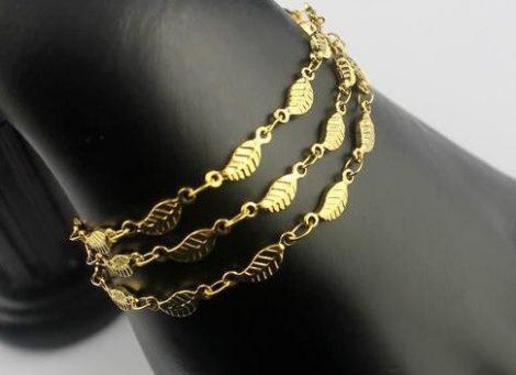 Levél mintás nemesacél karkötő arany színben