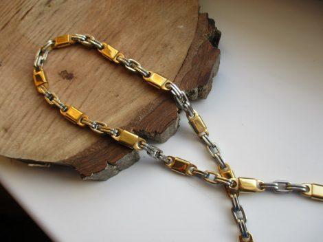 Nemesacél férfi nyaklánc arany-fehérarany színben