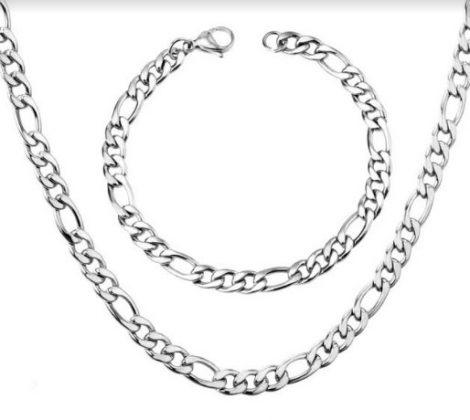 Nemesacél figaro nyaklánc és karkötő szett ezüst színben